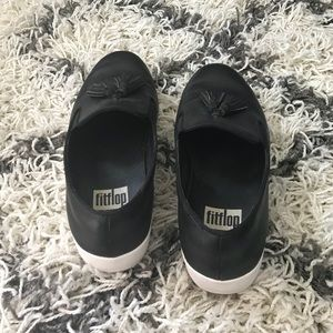 Fitflop Shoes - Fitflop Black Tassel Superskate Leather Loafers